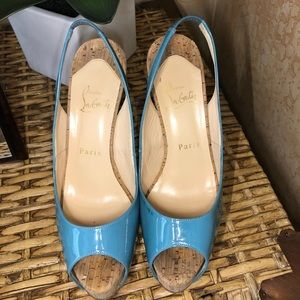 CHRISTIAN LOUBOUTIN Turquoise & Cork Pumps